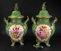 A pair of English porcelain baluster vases and covers, circa 1840,