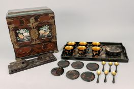 A Chinese black and gilt lacquered coffee set, with tray,