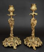 A pair of rococo style gilt metal candlesticks, 19th century, cast with fruiting vines,