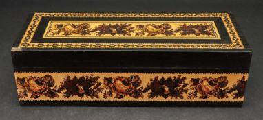 A Victorian Tunbridgeware and ebony rectangular box, labelled 'T Barton Manufacturer, Mount Ephraim,