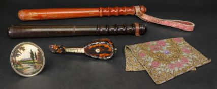 A miniature tortoiseshell mother of pearl and bone lute, late 19th century, 17cm long, a beaded cap,