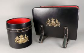 A retro black leather covered cylindrical waste paper bin,