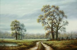 P Varley (British, 20th Century), A country landscape, signed 'P Varley' (lower left),