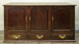 A reproduction George III style oak dwarf cupboard,