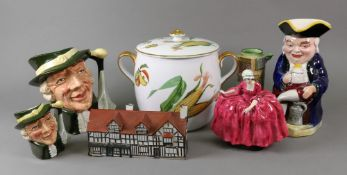 A WH Goss model of Shakespeare's House, a musical pottery Toby jug, Royal Doulton Regency Beau jug,