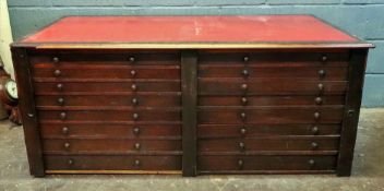 A Victorian mahogany plans chest, the moulded rectangular inset top above sixteen drawers,