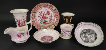 A group of English porcelain, late 18th and 19th century, comprising: two late 18th century saucers,