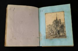 A small Victorian gilt tooled crushed morocco album, containing a collection of watercolours,