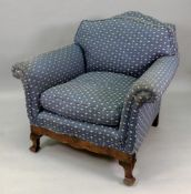 A reproduction early 18th century style walnut frame armchair, circa 1920's,
