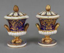 A pair of Derby campana shape pot pourri