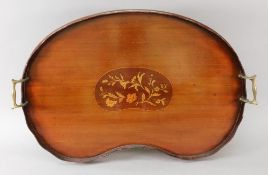 An Edwardian 'Sheraton Revival' mahogany kidney shape two-handled gallery tray,