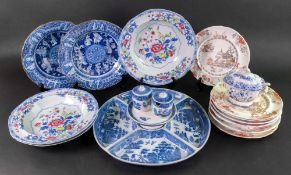 An English pearlware blue willow pattern