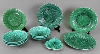 Three Victorian green glazed cabbage lea