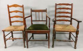 A pair of George III style oak ladder ba