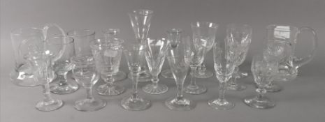 Five reproductions of 18th century English drinking glasses, thirteen other drinking glasses,