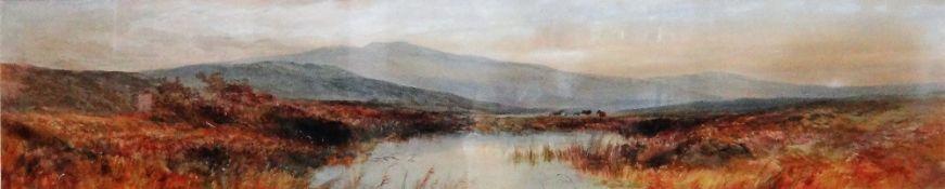 William Widgery (1822-1893), A moorland landscape, watercolour, signed, 23cm x 111cm.
