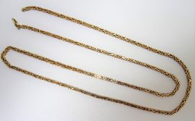 A 9ct gold Byzantine link neckchain, on a sprung hook shaped clasp, length 76cm, weight 37.1 gms.