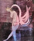 Attributed to Sidney Nolan (1917-1992), Leda and the swan, two, watercolour, 25cm x 29.