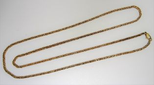 A 9ct gold Byzantine link necklace, on a sprung hook shaped clasp, length 71.5cm, weight 18.4 gms.
