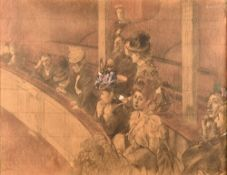 French School (late 19th century), Au Gallerie, pencil on squared paper heightened with watercolour,