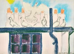 John Bratby (1928-1992), The Doves by the chimneys, pastel, signed and inscribed, 24cm x 33cm.