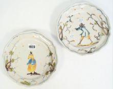 Two Savona maiolica plates, 18th century,