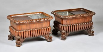 A pair of George IV mahogany wine coolers, each with egg and dart rounded rectangular tops,
