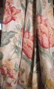 Curtains, two pairs of lined floral foliate curtains,