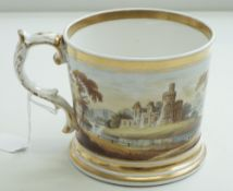 An English porcelain cylindrical mug, mid 19th century, probably Worcester or Coalport,