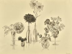 Van Day Truex (1904-1979), Flowers: Still life, monochrome watercolour, signed, 50cm x 67.5cm.
