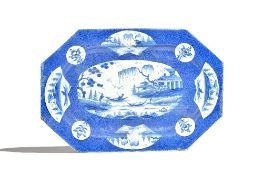 A large Bow octagonal blue and white dish, circa 1765,