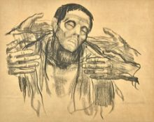 Kathe Kollwitz (1867-1945), Dying man, lithograph, signed, 43cm x 53.5cm. Illustrated.