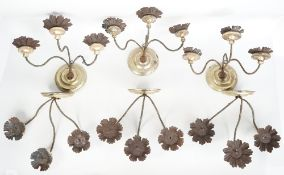 A set of six, three branch metal and giltwood wall sconces,
