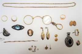 A group of mostly 9ct gold jewellery, comprising; three rings, a pair of drop shaped earrings,