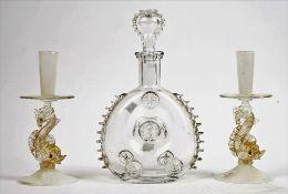 A pair of Venetian latticinio glass candlesticks, probably Salviati, 20th century,
