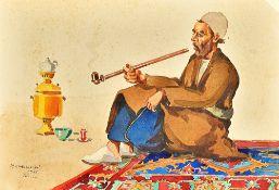Misha Chahbazian (Shahbazian 1904-1976), An Iranian man seated on a carpet and smoking, watercolour,