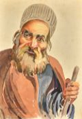Misha Chahbazian (Shahbazian 1904-1976), Head study of an Iranian man, watercolour, signed,