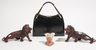 Collectables, including; a black leather handbag,