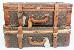 Two Louis Vuitton suitcases, circa 1980, each with monogrammed canvas and leather embellishments,