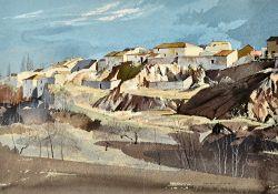 Rowland Hilder (1905-1993), Hillside town, watercolour, pen, ink and gouache, signed, 35.5cm x 52cm.