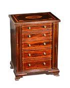 An Edwardian inlaid mahogany table top Wellington chest,