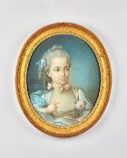 Circle of Jean Baptiste Huet, Portrait of a young girl, coloured chalks, oval, 47.5cm x 38.5cm.
