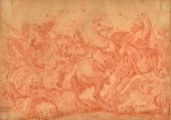 After Sir Peter Paul Rubens, The Lion Hunt, sanguine chalk, 20cm x 28cm. Illustrated.
