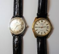 An Omega Electronic F 300 HZ gold cased gentleman's wristwatch,