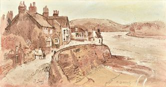 Fred Yates (1922-2008), Cornish Waterfront, oil on canvas, signed, unframed, 40cm x 76cm.