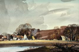Rowland Hilder (1905-1993), Landscape near Farnham, Surrey, watercolour, pen and ink, signed,