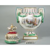 A Meissen-style two handled pierced vase and cover, late 19th century,