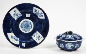 A Bow blue and white sauce tureen and cover, circa 1765, of quatrelobed form with fruit knop,