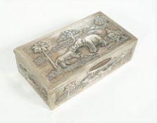 An Asian rectangular hinge lidded table cigarette box,