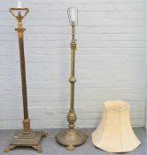A gilt metal standard lamp of corinthian column form,